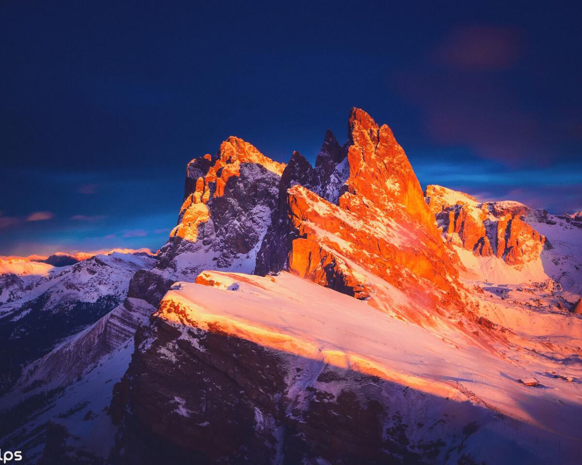 Доломитовые Альпы на закате