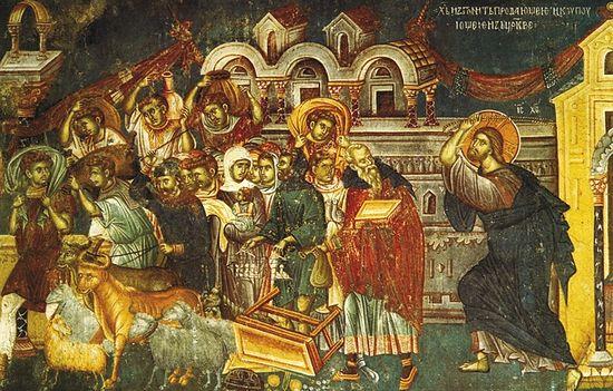 Изгнание торгующих из храма, фреска в церкви святого Никиты близ Скопье. 1483-84 гг.