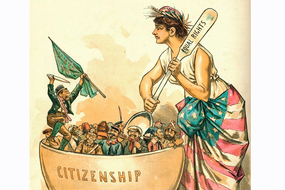Американский плавильный котел, Карикатура 1889 года