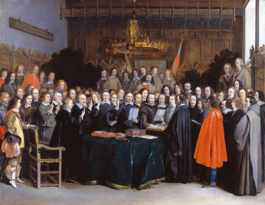 Герард Терборх, Подписание Мюнстерского договора о мире, 1648, 45х59 см, Rijksmuseum, Амстердам, Нидерланды