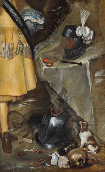 """Герард Терборх, Памятный портрет Мозеса Терборха (1645-1667),   фрагмент """"Суета сует"""""""