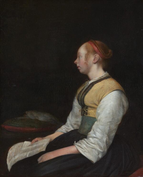 Герард Терборх, Девушка в крестьянской одежде (предположительно - Гезина, сводная сестра Герарда), 1650, 28х23 см, Rijksmuseum, Амстердам, Нидерланды