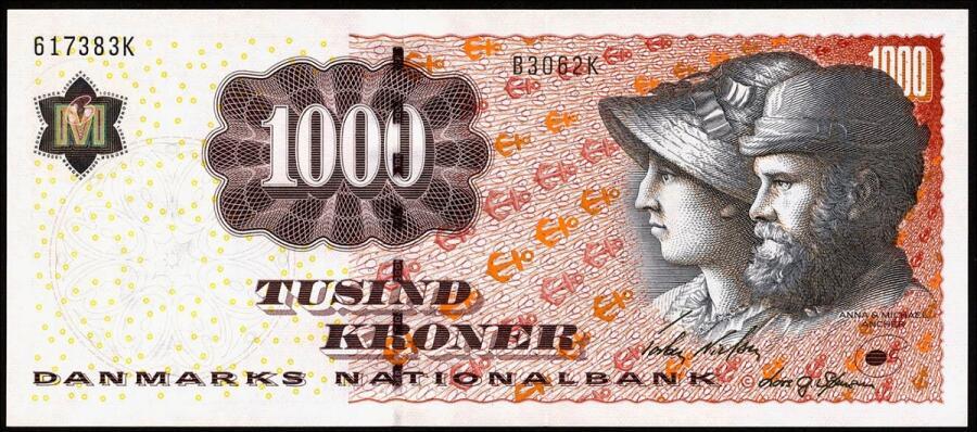 Датская банкнота 1000 крон 2004 г.