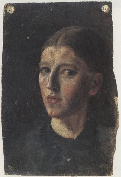 Анна Анкер, автопортрет, 1877, 18х12 см, фонд Хельги Анкер, Скаген, Дания