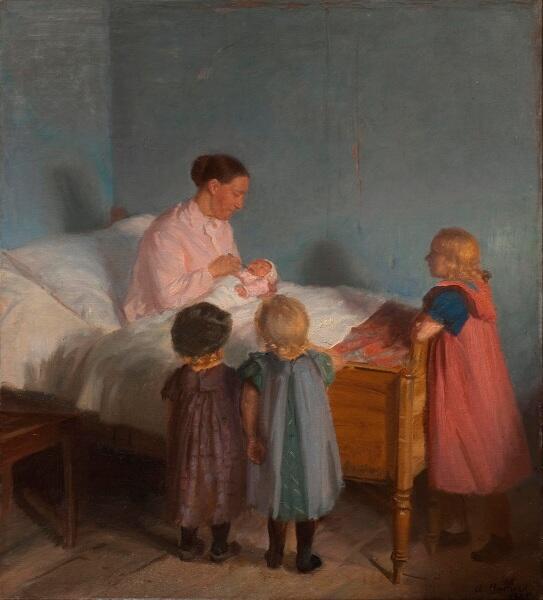 Анна Анкер, Маленький братик, 1905, 62х69 см, художественный музей Хиршпрунга, Копенгаген, Дания