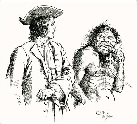 Чарльз Э. Брок, иллюстрация к «Путешествиям Гулливера», Гулливер и йеху