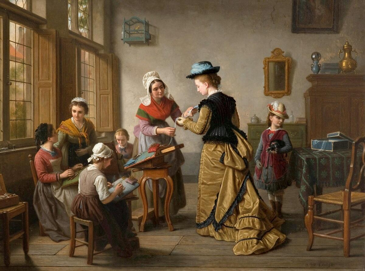 Базиль де Луз, Визит к кружевнице, 58×80 см, коллекция Джефа Рейдмэйкера, Бельгия