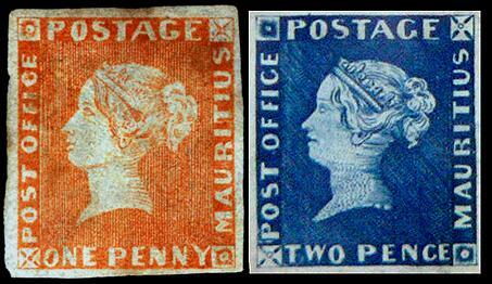 Почтовые марки Маврикия, Розовый и Голубой Маврикий, 1847 год, 1 пенни и 2 пенса, являются одними из самых редких и ценных почтовых марок в мире