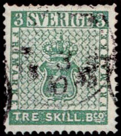Первая марка Швеции, 3 скиллинга банко, 1855 г.