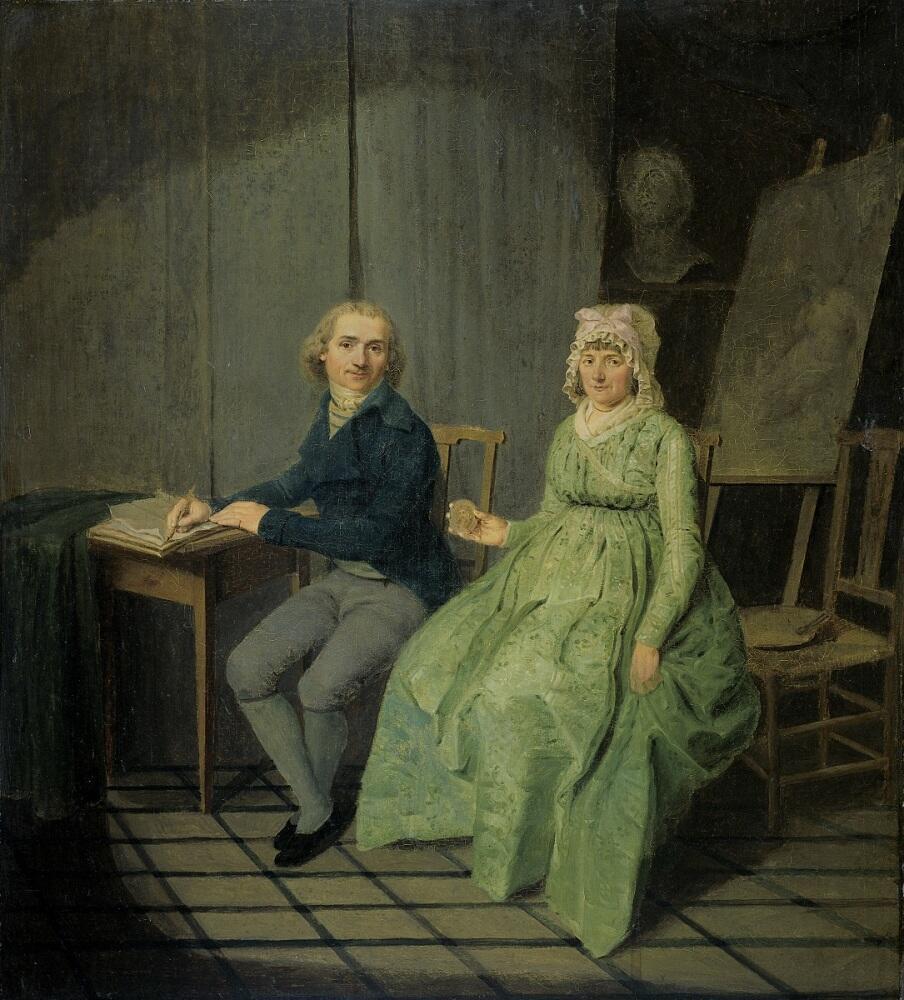 Вайбренд Хендрикс, Двойной портрет с первой женой Агатой Кетель, 1791, 52х47 см, Рийксмузеум, Амстердам, Нидерланды