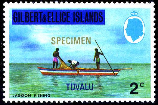 Почтовая марка Островов Гилберта и Эллис 1976 года с надпечаткой для использования в Тувалу и с надпечаткой «Образец»