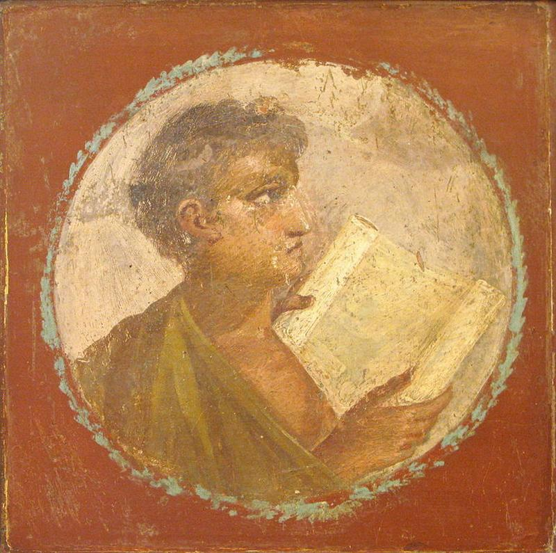 Человек со свитком на фреске из Геркуланума