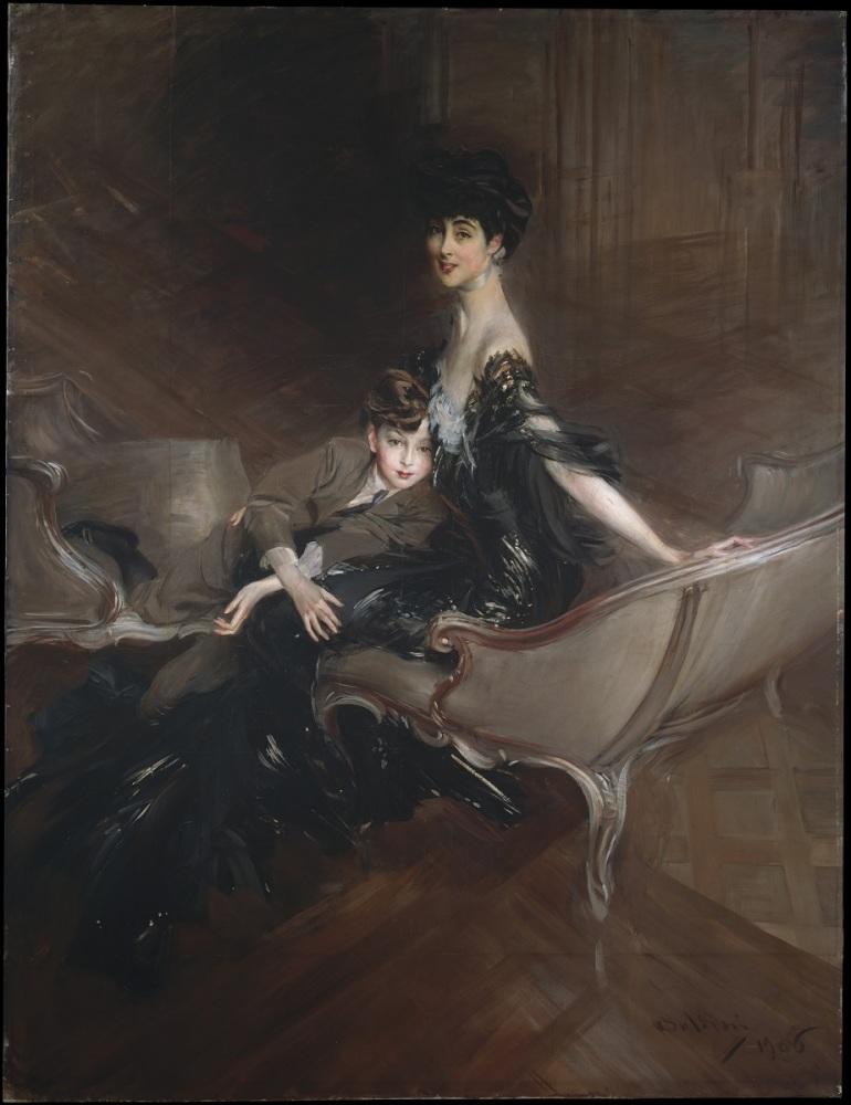 Джованни Болдини, портрет Консуэло Вандербильт, герцогини Мальборо, с сыном Айвором Спенсер-Черчиллем, 1906, 221х170 см, Метрополитен музей, Нью-Йорк, США