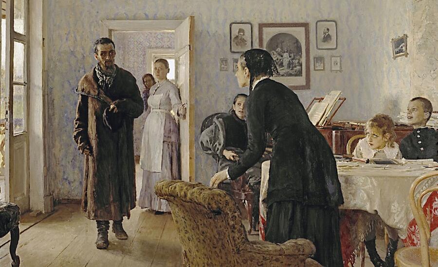 И. Репин, «Не ждали» (фрагмент), 1884—1888 гг.