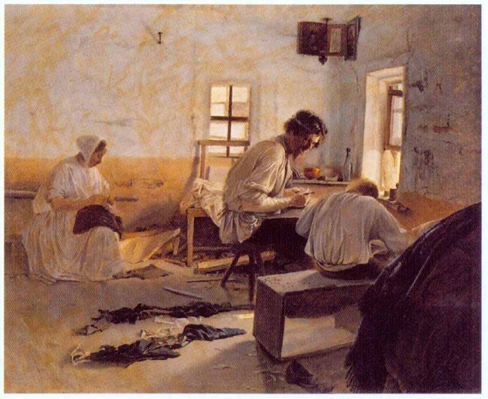 Л. Соловьев, «Сапожники», 1875 г.