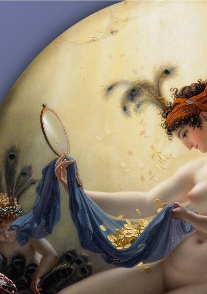Мадемуазель Ланж в виде Данаи,  фрагмент Золотой дождь