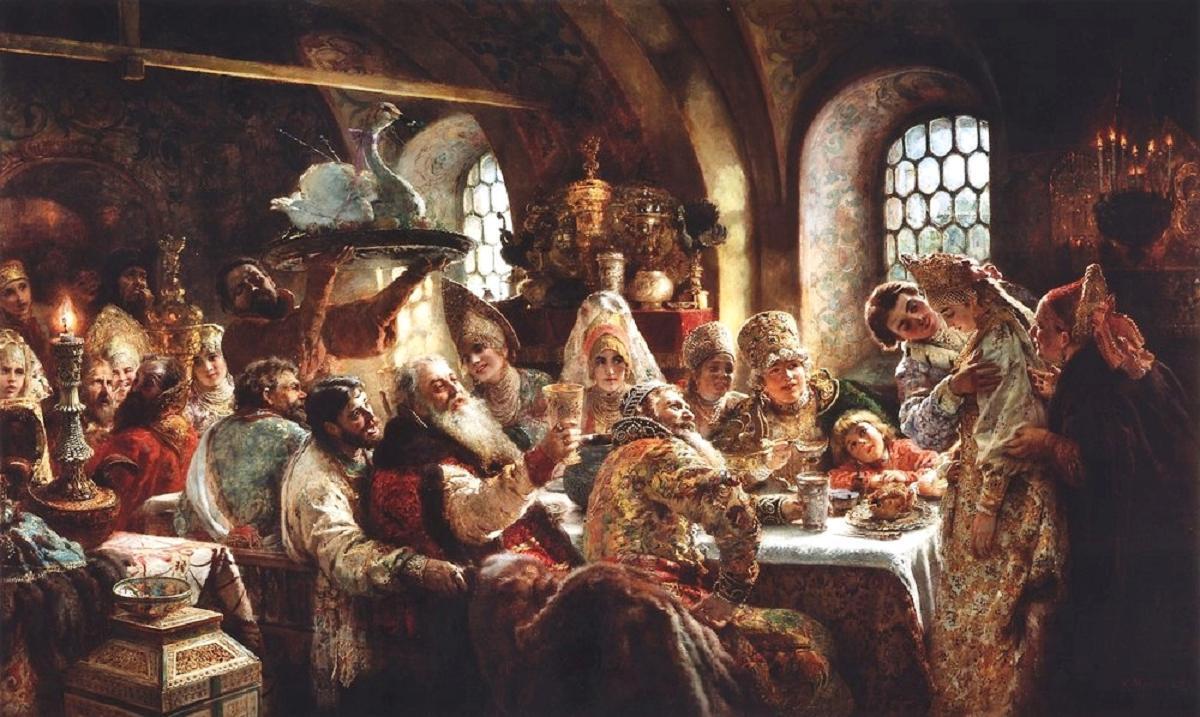 К.Е. Маковский, «Боярский свадебный пир в XVII веке», 1883 г., Музей Хилвуд, Вашингтон, США