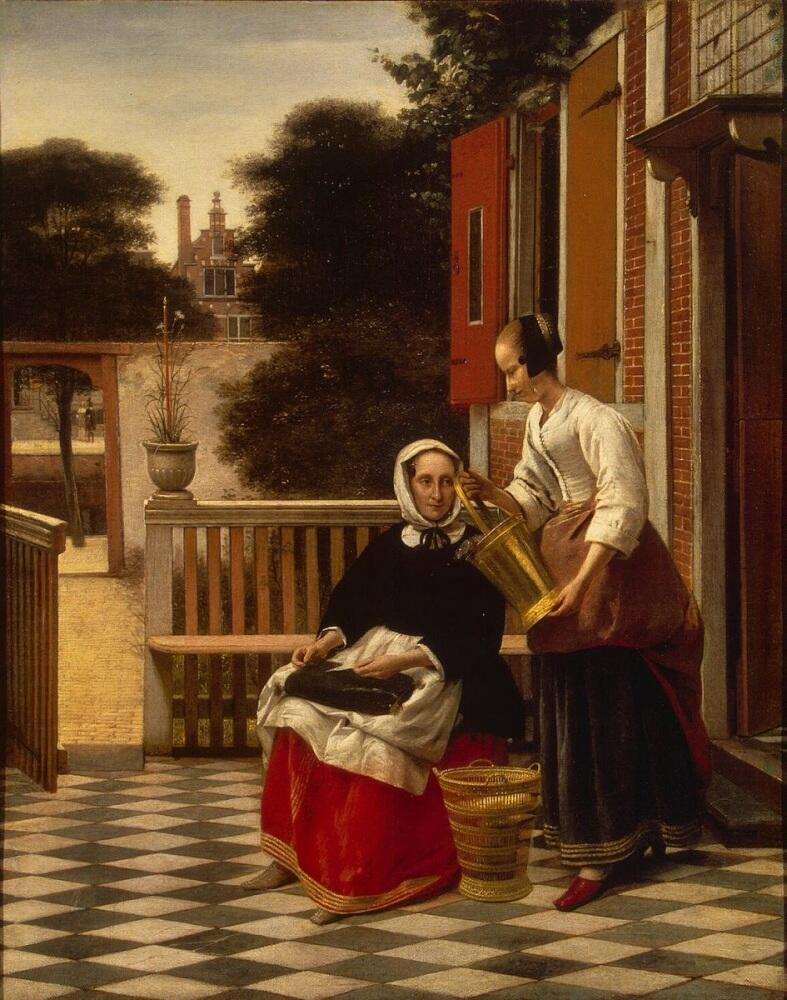 Питер де Хох,  «Женщина и служанка», 1657, 53х42 см, Эрмитаж, Петербург, Россия