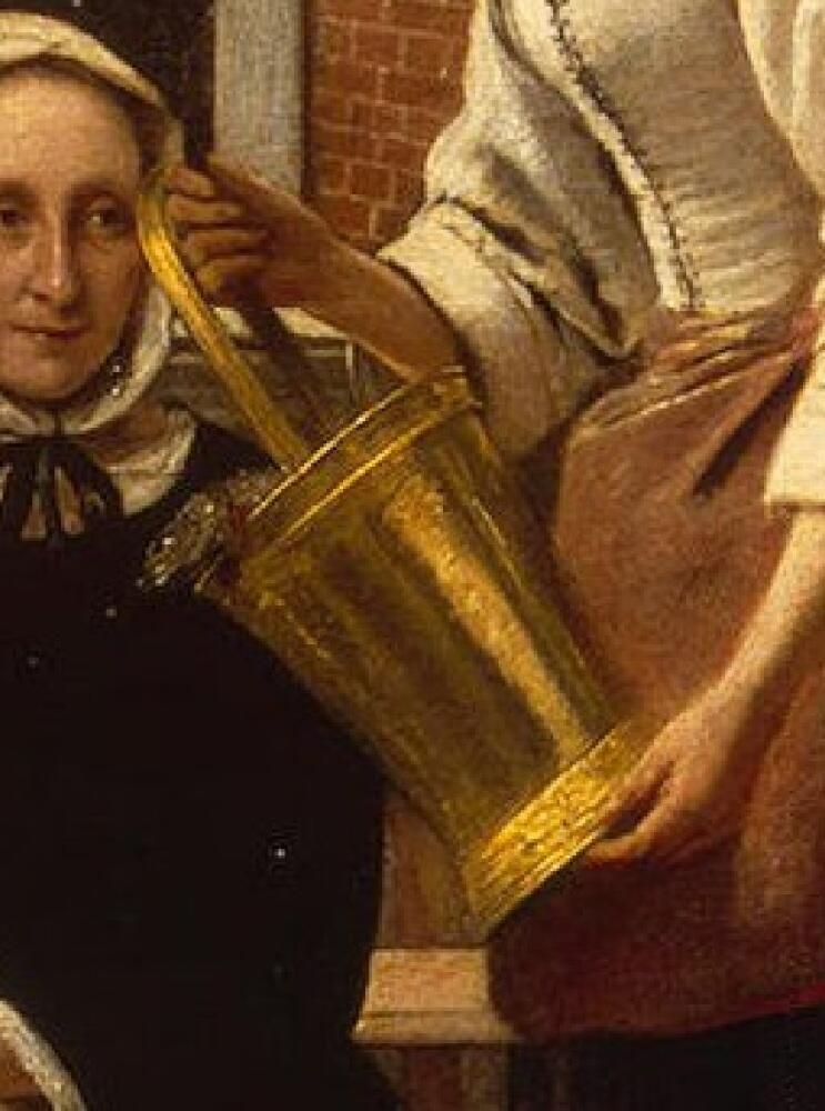 Питер де Хох,  Женщина и служанка, фрагмент