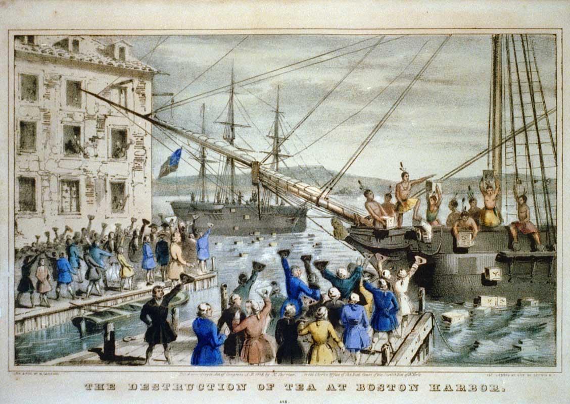«Уничтожение чая в Бостонской гавани», Литография 1846 года. Ненависть к тирании у американцев в крови, а право на восстание записано в Конституции