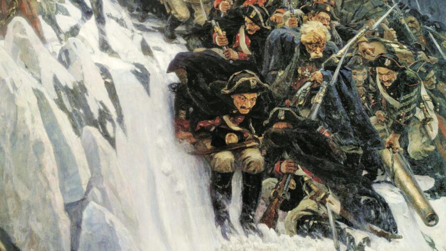 В. И. Суриков, «Переход Суворова через Альпы», фрагмент, 1899 г.