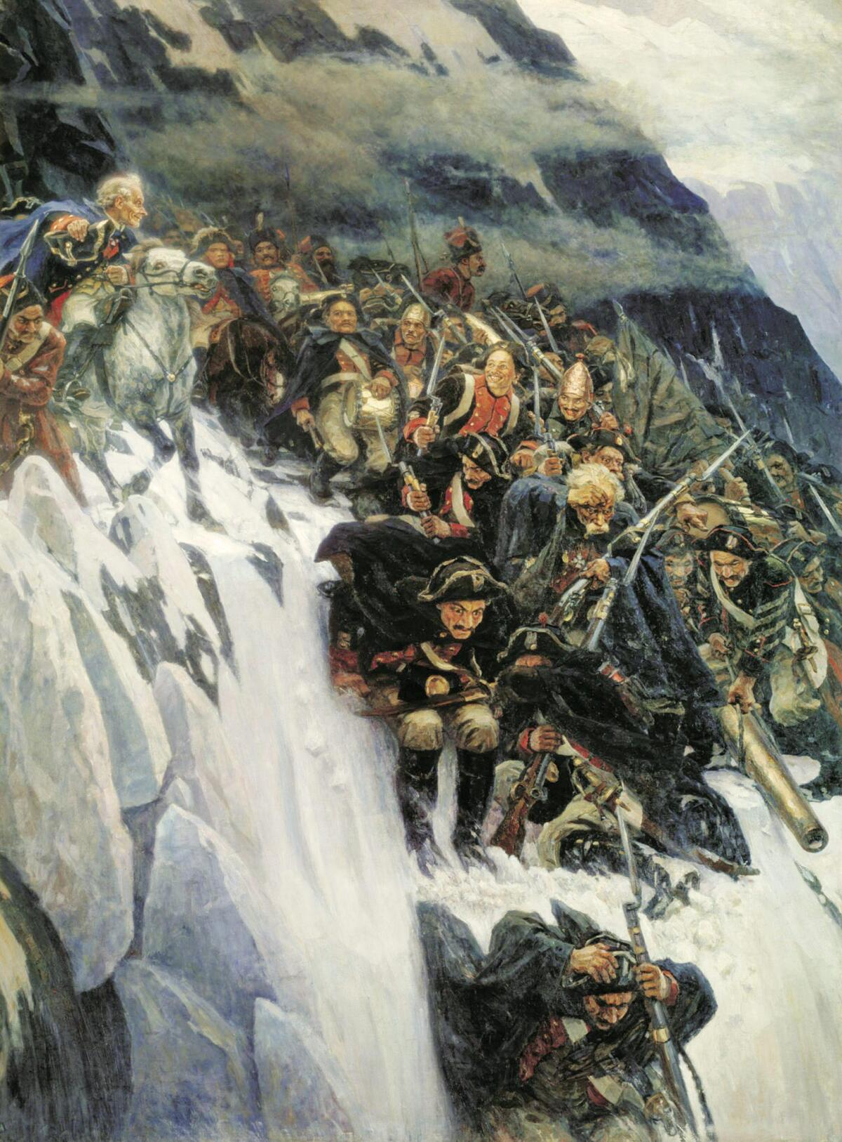 В. И. Суриков, «Переход Суворова через Альпы», 1899 г.