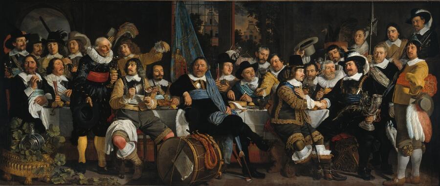 Бартоломеус ван дер Гельст, Празднование Мюнстерского мира 18 июня 1648 года в штаб-квартире гражданской гвардии (гвардии св. Георгия), 1648, 232х547 см, Рейксмюсеум, Амстердам, Нидерланды