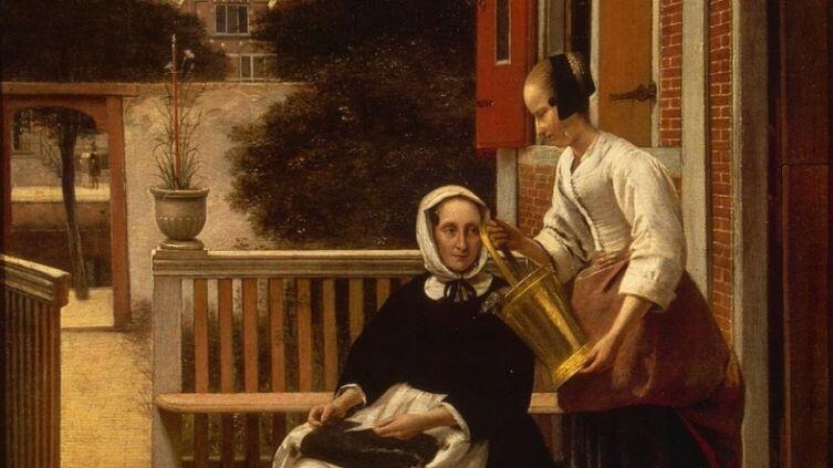 Питер де Хох,  «Женщина и служанка», фрагмент 1657 г.