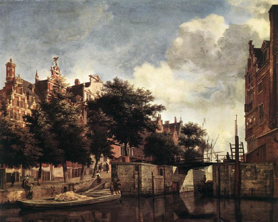 Ян ван дер Хейден, «Канал и улица Мартелаарсграхт в Амстердаме», 1670, 44х57 см, Рейксмусеум, Амстердам, Нидерланды