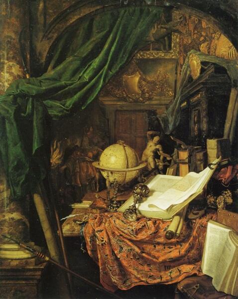 Ян ван дер Хейден, «Натюрморт с глобусом, книгами, статуей и другими предметами», 1670, галерея живописи Академии изобразительных искусств, Вена, Австрия
