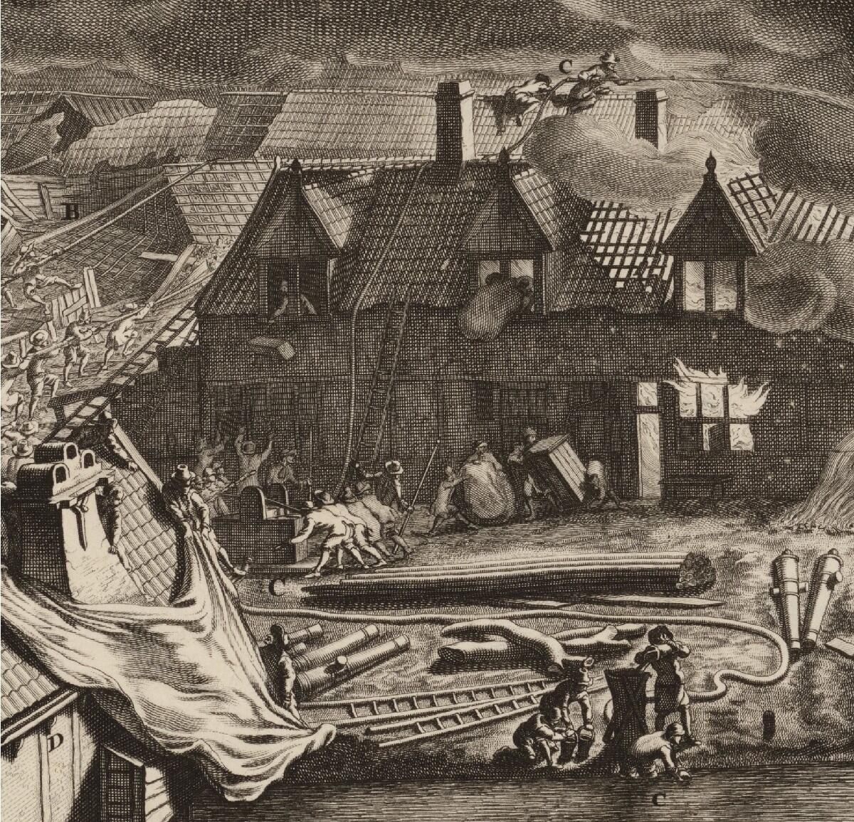 Ян ван дер Хейден, «Пожар на заводе в Амстердаме в 1682 году», фрагмент «Противопожарная машина Яна ван дер Хейдена»