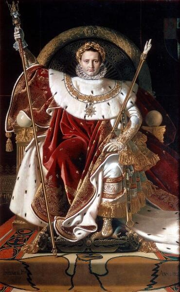 Жан-Огюст-Доминик Энгр, Наполеон на его императорском троне,    1806, 259х162 см, Музей армии, Париж, Франция