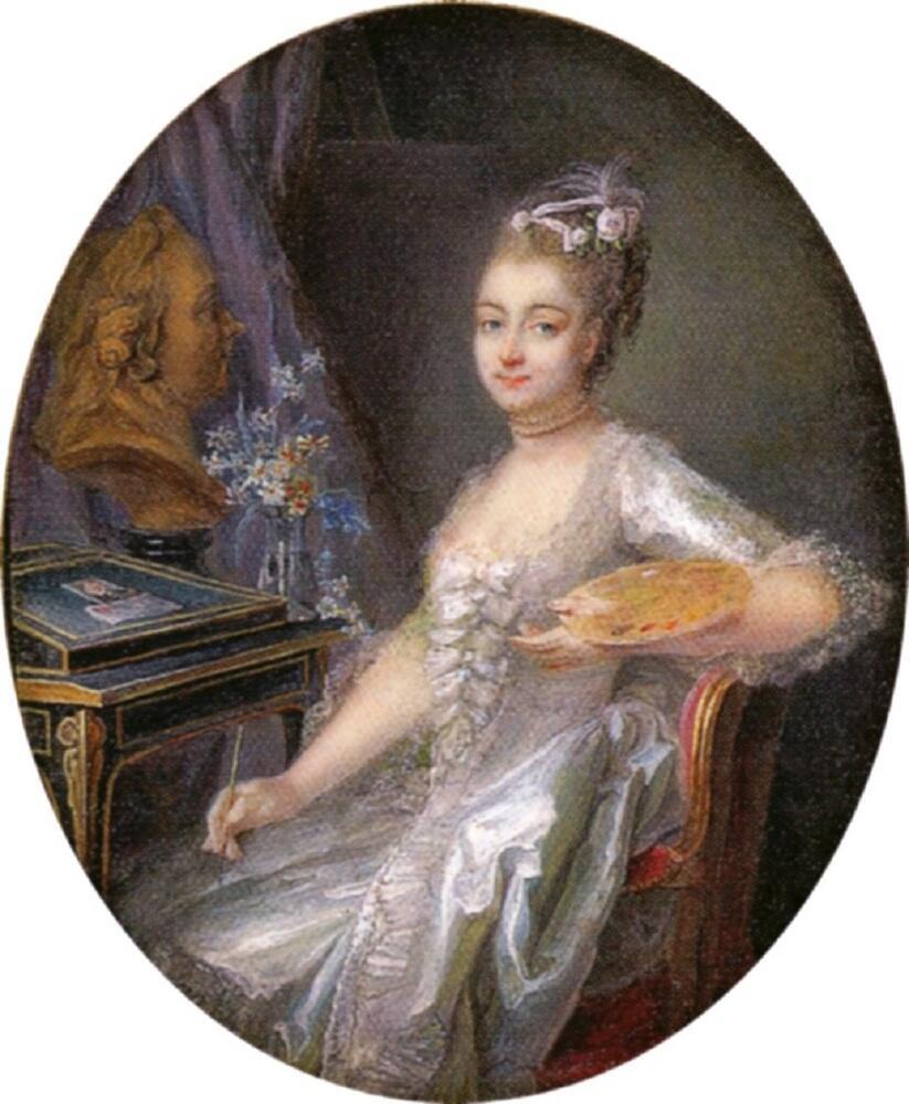 Аделаида Лабиль-Жиар, автопортрет, 1774, миниатюра, акварель на слоновой кости, 10х8 см, местонахождение неизвестно