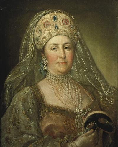 Портрет ЕкатериныII в русском наряде кисти неизвестного художника