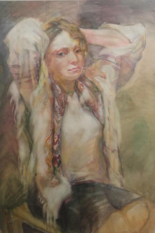 Б. Кукшиев. Женский портрет. Бумага, акварель, 2013 г.
