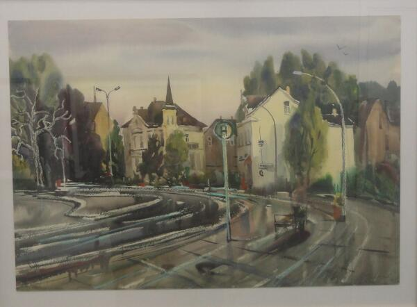 Б. Кукшиев. Улица Нойбранденбурга. Бумага, акварель, 1990 г.