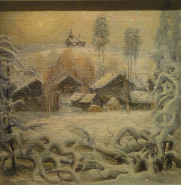 Б. Кукшиев. Зима в Маньге. Хост на плите, масло, 1990 г.
