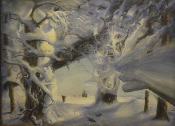 Б. Кукшиев. Зимняя дорога. Холст, масло, 1999 г.
