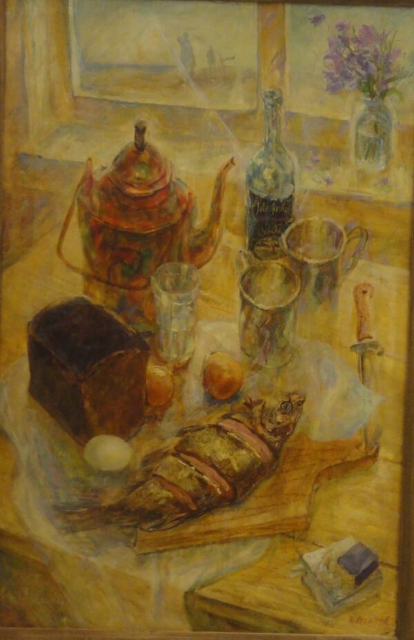 Б. Кукшиев. Рыбацкий натюрморт. Оргалит, масло, 1999 г.