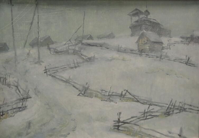 Б. Кукшиев. Зима в Гридино. Оргалит, масло, 2007 г.
