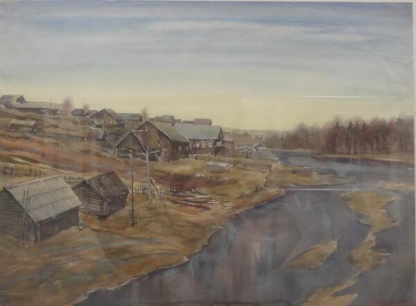 Б. Кукшиев. Деревня Вороново. Бумага, акварель, 1997 г.