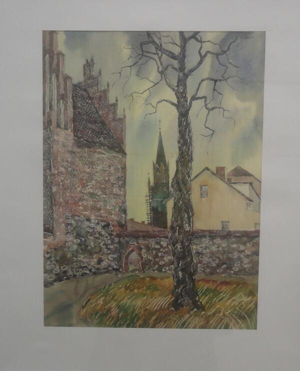 Б. Кукшиев. Городской пейзаж. Бумага, акварель, 1992 г.