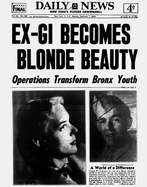 Газета с сообщением о трансгендерной операции. 1952 год
