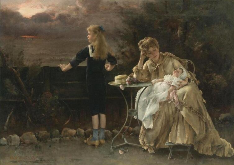 Альфред Эмиль Леопольд Стевенс, «Мать с детьми», 1883 г., 67х100 см, частная коллекция