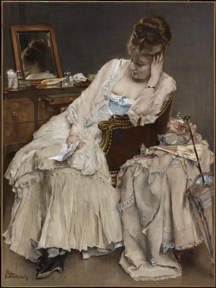 Альфред Эмиль Леопольд Стевенс, «Воспоминания и сожаление», 1874 г., 61х46 см, музей Кларк, Вильямстаун, США