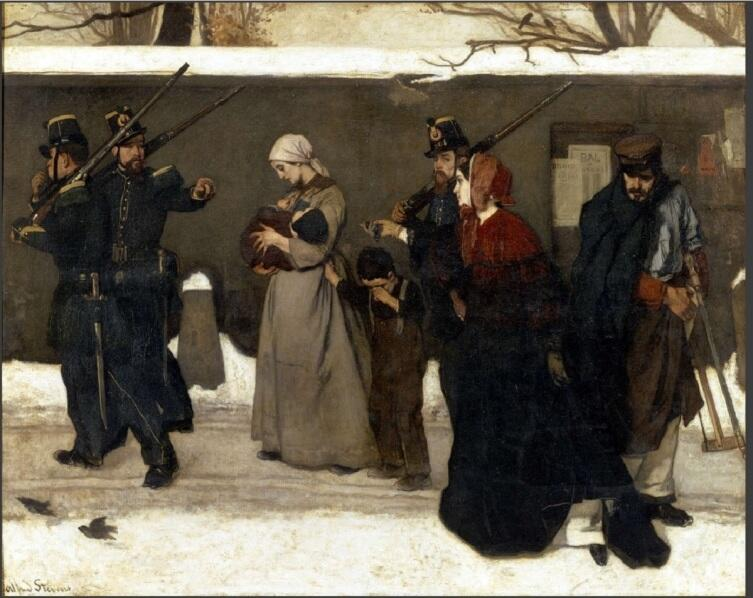 Альфред Эмиль Леопольд Стевенс, «Арестованная за бродяжничество», 1855 г., 131x164 см, Музей Орсе, Париж, Франция