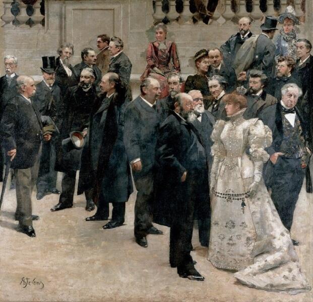 Альфред Эмиль Леопольд Стевенс, «Панорама столетия 1789-1889», 1889 г., фрагмент, справа - Сара Бернар