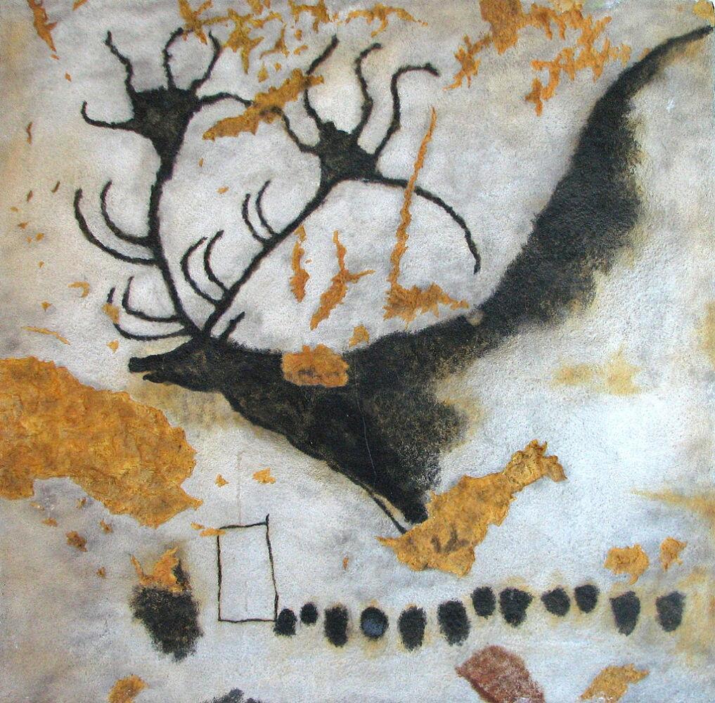 Наскальный рисунок гигантского оленя в пещере Ласко. Пещера находится во Франции, в Аквитании, в департаменте Дордонь на территории коммуны Монтиньяк