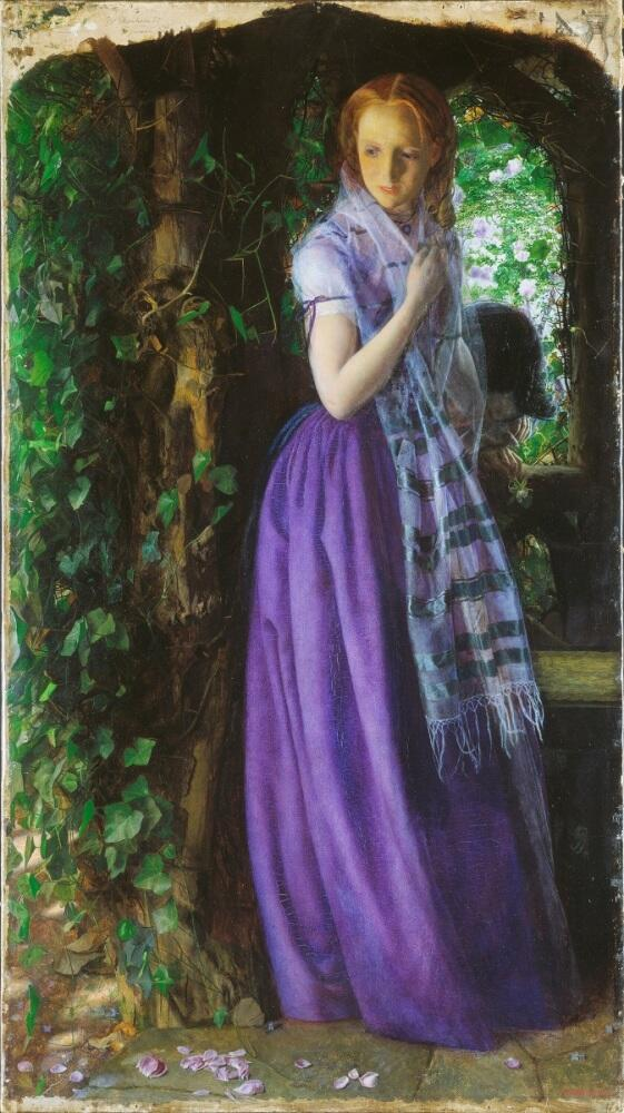 Артур Хьюз, «Любовь в апреле», 1855 г., 89х50 см, галерея Тэйт, Лондон, Англия