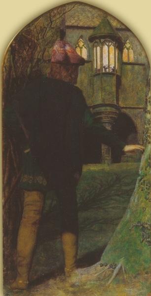 Артур Хьюз, «Вечер св. Агнессы», фрагмент, Левая часть триптиха